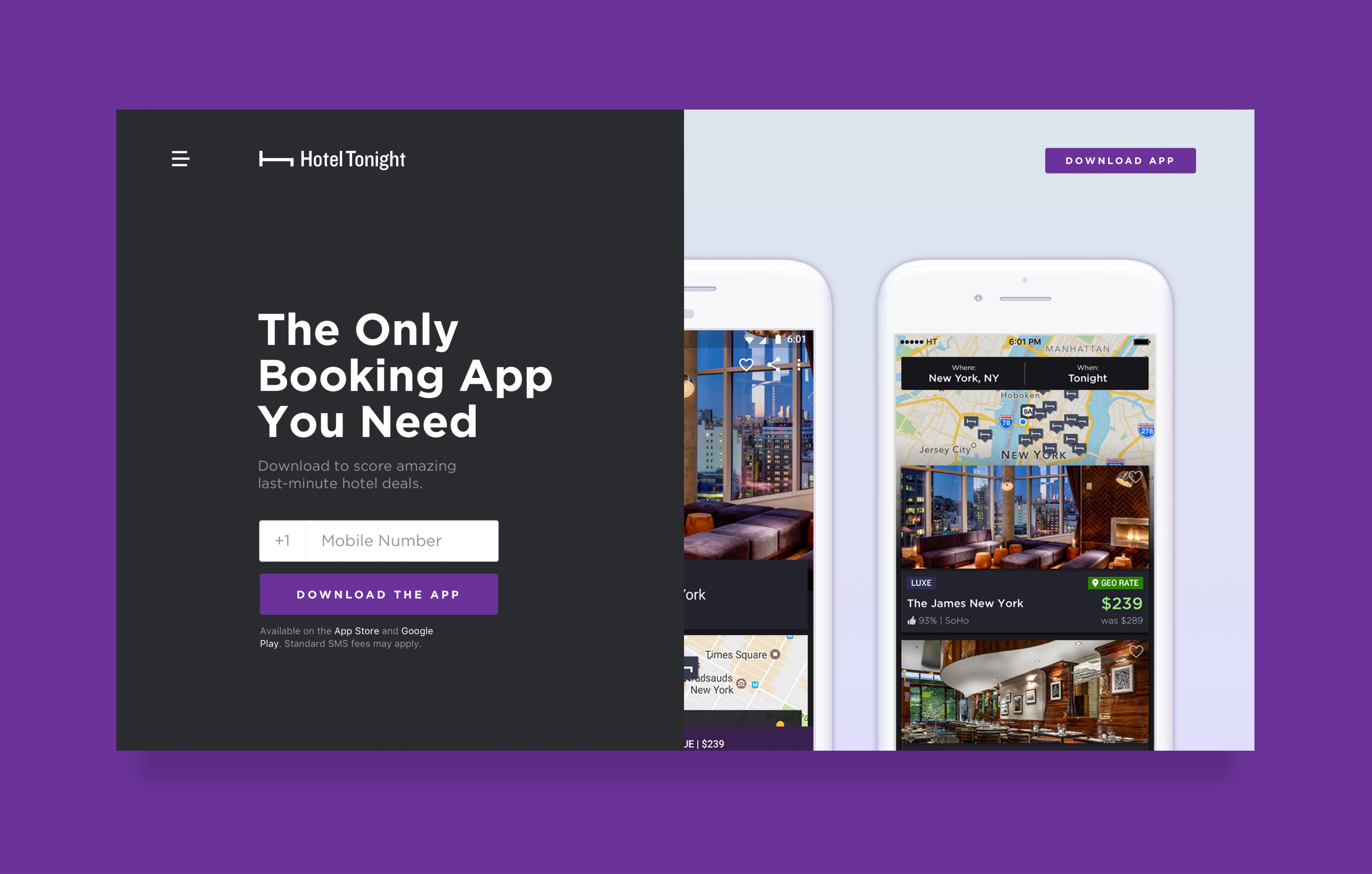 Purple-themed landing page for a hotel app download